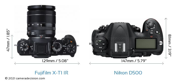 Fujifilm X-T1 IR vs Nikon D500 Camera Size Comparison - Top View