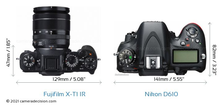 Fujifilm X-T1 IR vs Nikon D610 Camera Size Comparison - Top View