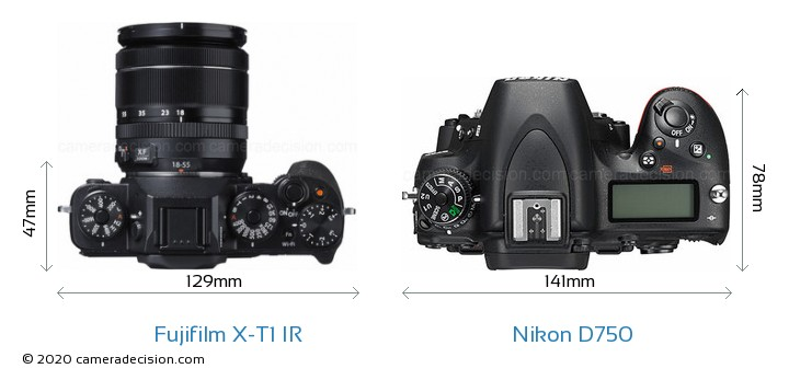 Fujifilm X-T1 IR vs Nikon D750 Camera Size Comparison - Top View