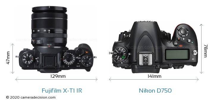 Fujifilm X-T1 IR vs Nikon D750 Camera Size Comparison - Top View