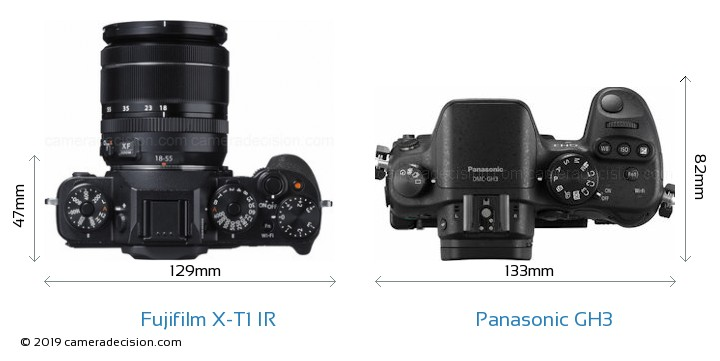 Fujifilm X-T1 IR vs Panasonic GH3 Camera Size Comparison - Top View