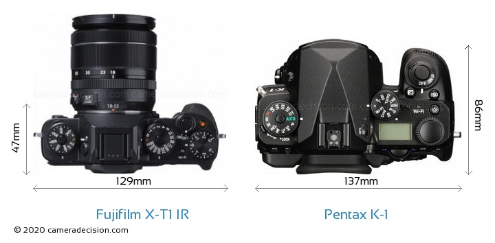 Fujifilm X-T1 IR vs Pentax K-1 Camera Size Comparison - Top View
