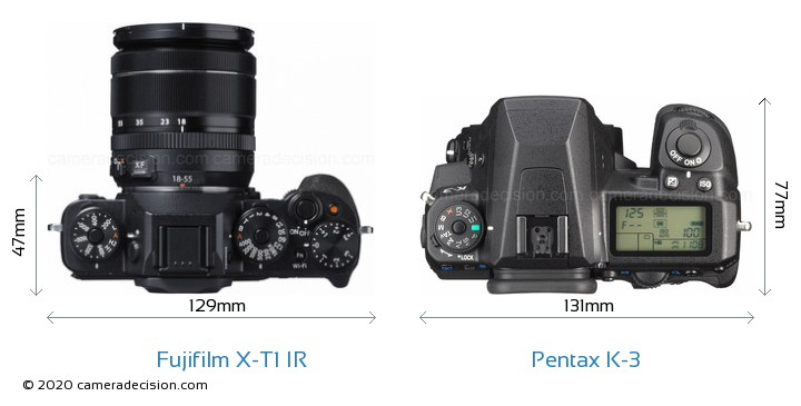 Fujifilm X-T1 IR vs Pentax K-3 Camera Size Comparison - Top View