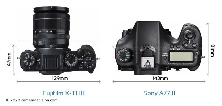Fujifilm X-T1 IR vs Sony A77 II Camera Size Comparison - Top View