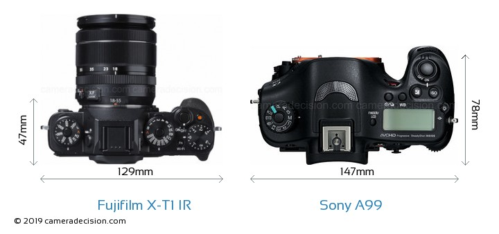 Fujifilm X-T1 IR vs Sony A99 Camera Size Comparison - Top View