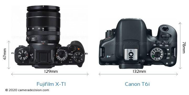 Fujifilm X-T1 vs Canon T6i Camera Size Comparison - Top View