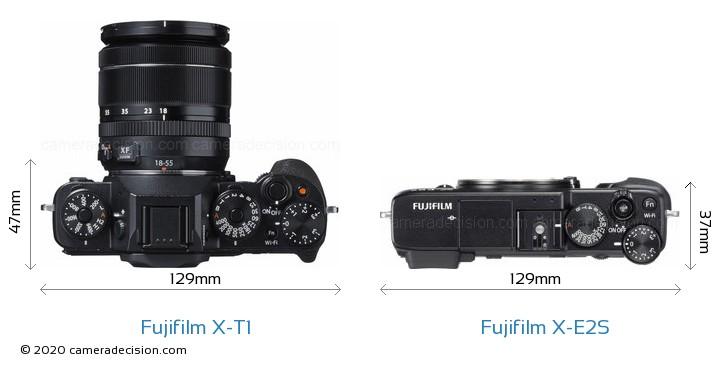 Fujifilm X-T1 vs Fujifilm X-E2S Camera Size Comparison - Top View