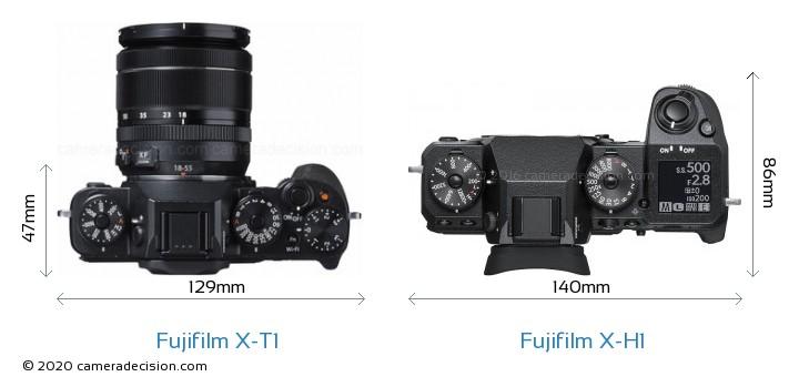 Fujifilm X-T1 vs Fujifilm X-H1 Camera Size Comparison - Top View