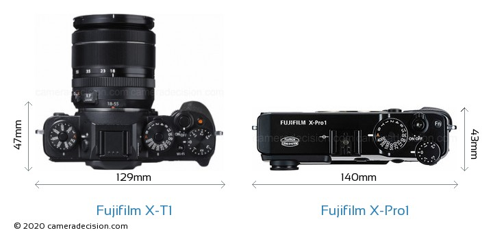 Fujifilm X-T1 vs Fujifilm X-Pro1 Camera Size Comparison - Top View
