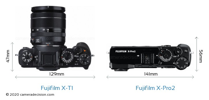 Fujifilm X-T1 vs Fujifilm X-Pro2 Camera Size Comparison - Top View