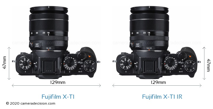 Fujifilm X-T1 vs Fujifilm X-T1 IR Camera Size Comparison - Top View