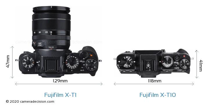 Fujifilm X-T1 vs Fujifilm X-T10 Camera Size Comparison - Top View