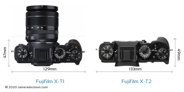 Fujifilm X-T1 vs Fujifilm X-T2 Camera Size Comparison - Top View