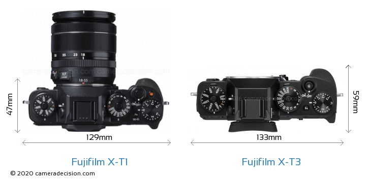 Fujifilm X-T1 vs Fujifilm X-T3 Camera Size Comparison - Top View