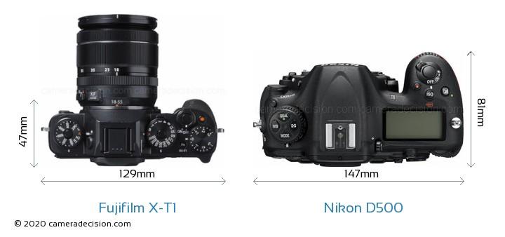 Fujifilm X-T1 vs Nikon D500 Camera Size Comparison - Top View