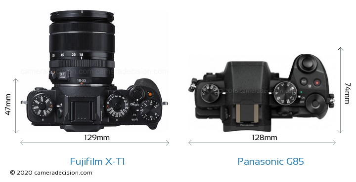 Fujifilm X-T1 vs Panasonic G85 Camera Size Comparison - Top View