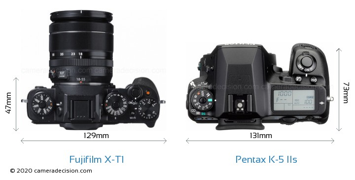 Fujifilm X-T1 vs Pentax K-5 IIs Camera Size Comparison - Top View