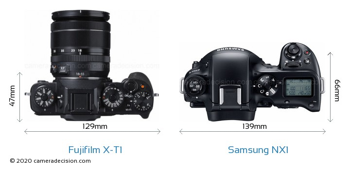Fujifilm X-T1 vs Samsung NX1 Camera Size Comparison - Top View