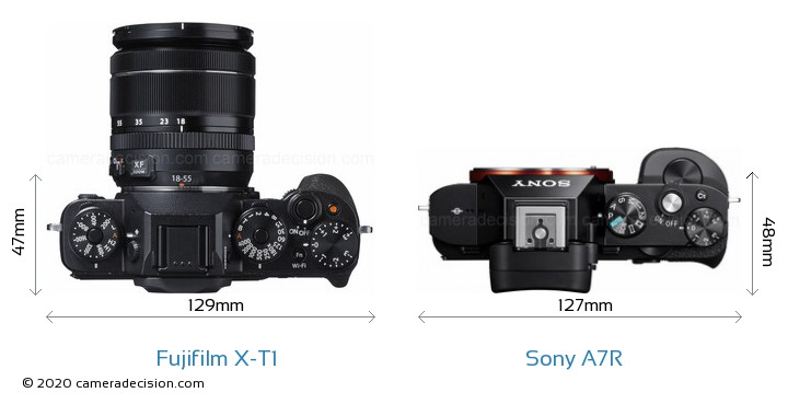 Fujifilm X-T1 vs Sony A7R Camera Size Comparison - Top View