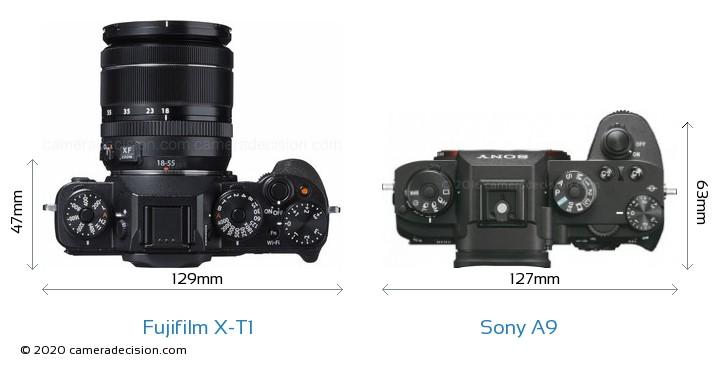 Fujifilm X-T1 vs Sony A9 Camera Size Comparison - Top View