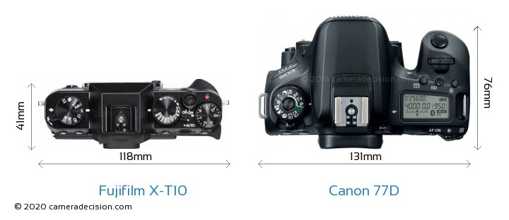 Fujifilm X-T10 vs Canon 77D Camera Size Comparison - Top View