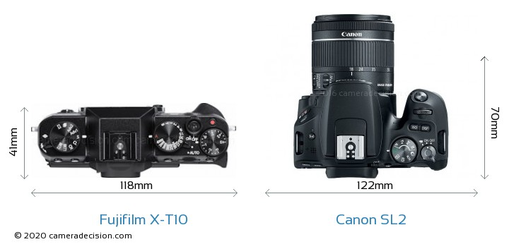 Fujifilm X-T10 vs Canon SL2 Camera Size Comparison - Top View