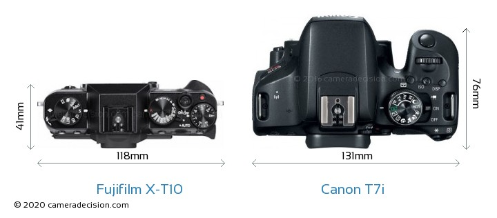 Fujifilm X-T10 vs Canon T7i Camera Size Comparison - Top View