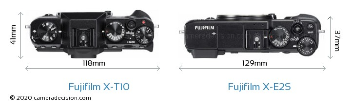 Fujifilm X-T10 vs Fujifilm X-E2S Camera Size Comparison - Top View