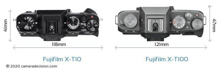 Fujifilm X-T10 vs Fujifilm X-T100 Camera Size Comparison - Top View