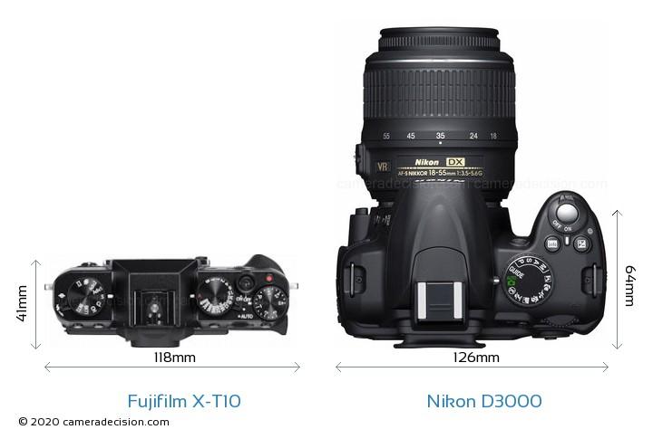 Fujifilm X-T10 vs Nikon D3000 Camera Size Comparison - Top View
