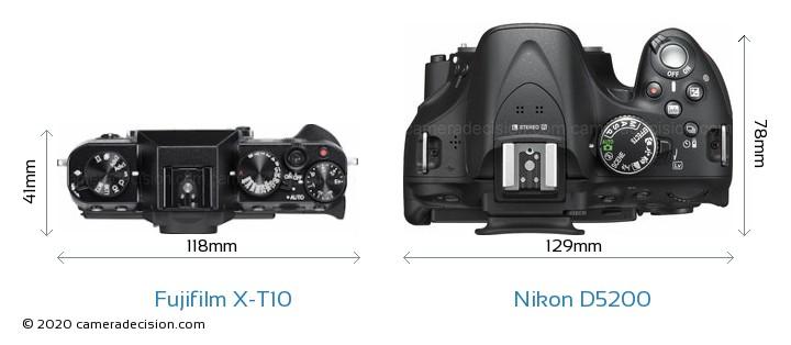 Fujifilm X-T10 vs Nikon D5200 Camera Size Comparison - Top View