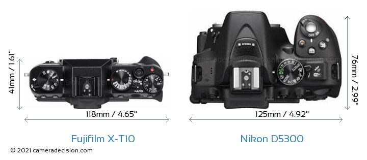 Fujifilm X-T10 vs Nikon D5300 Camera Size Comparison - Top View