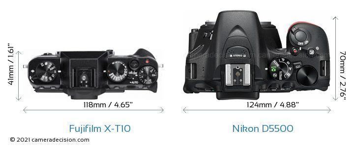 Fujifilm X-T10 vs Nikon D5500 Camera Size Comparison - Top View
