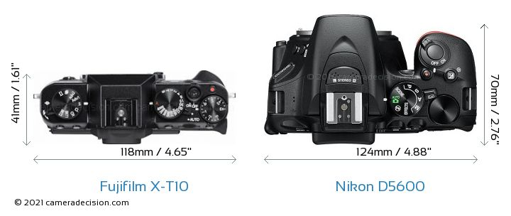 Fujifilm X-T10 vs Nikon D5600 Camera Size Comparison - Top View