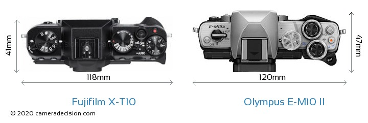 Fujifilm X-T10 vs Olympus E-M10 II Camera Size Comparison - Top View