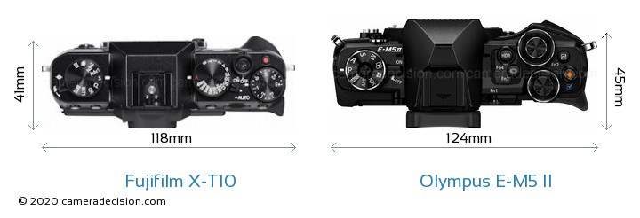Fujifilm X-T10 vs Olympus E-M5 II Camera Size Comparison - Top View