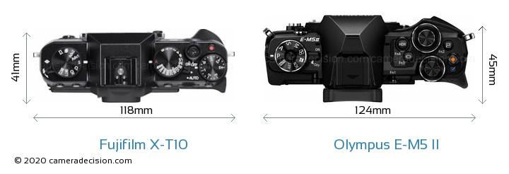 Fujifilm X-T10 vs Olympus E-M5 II Camera Size Comparison - Top View