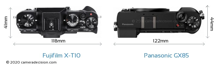 Fujifilm X-T10 vs Panasonic GX85 Camera Size Comparison - Top View