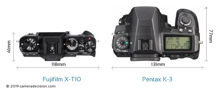 Fujifilm X-T10 vs Pentax K-3 Camera Size Comparison - Top View