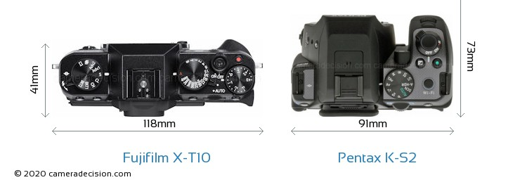 Fujifilm X-T10 vs Pentax K-S2 Camera Size Comparison - Top View