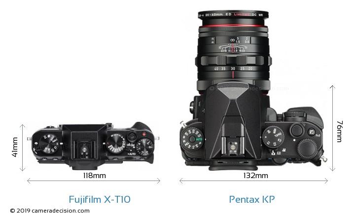 Fujifilm X-T10 vs Pentax KP Camera Size Comparison - Top View