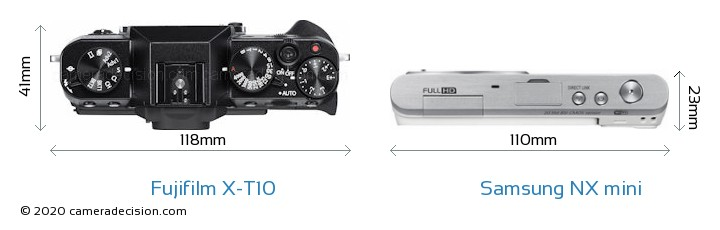 Fujifilm X-T10 vs Samsung NX mini Camera Size Comparison - Top View