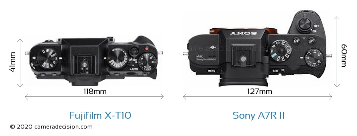 Fujifilm X-T10 vs Sony A7R II Camera Size Comparison - Top View