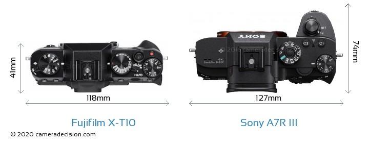 Fujifilm X-T10 vs Sony A7R III Camera Size Comparison - Top View
