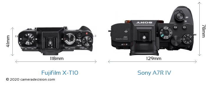 Fujifilm X-T10 vs Sony A7R IV Camera Size Comparison - Top View