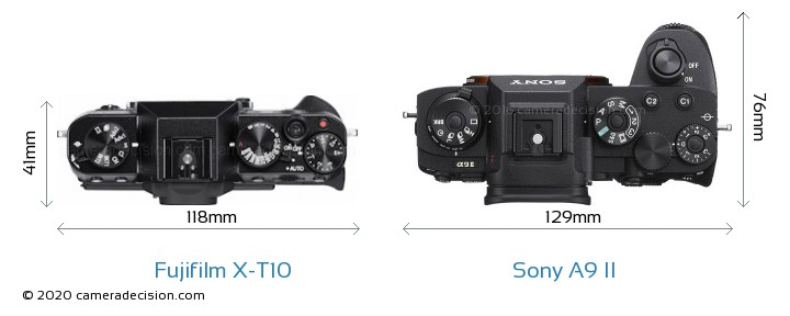 Fujifilm X-T10 vs Sony A9 II Camera Size Comparison - Top View