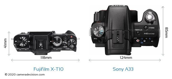 Fujifilm X-T10 vs Sony A33 Camera Size Comparison - Top View