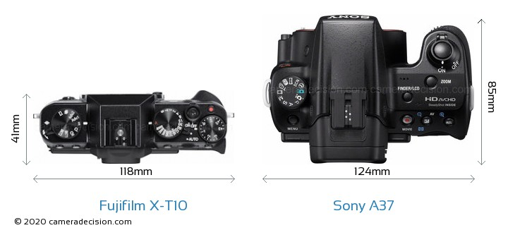 Fujifilm X-T10 vs Sony A37 Camera Size Comparison - Top View