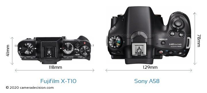 Fujifilm X-T10 vs Sony A58 Camera Size Comparison - Top View
