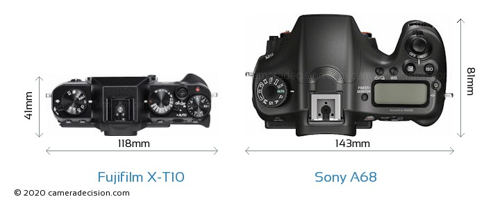 Fujifilm X-T10 vs Sony A68 Camera Size Comparison - Top View